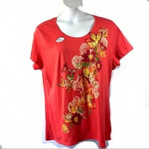 Just My Size Knit Top Sz 2X Butterfly Floral JMS